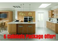 Kitchen Cabinets Cambridge 20 mm Solid Timber Doors Shaker Style, 5 Units Package Offer NEW