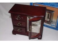 MUSICAL Wooden Jewellery Cabinet (Wardrobe) with mirror (H. SAMUEL) - EXCELLENT CONDITION