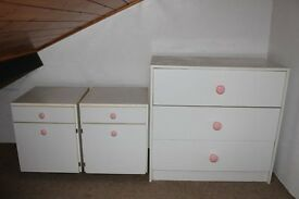 Chest of drawers and two Bedside Cabinets