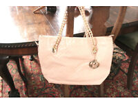 women Leather looking Pink Tote Handbag