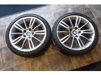 "18"" ORIGINAL BMW ALLOY WHEELS AND TYRES 2 WHEELS"