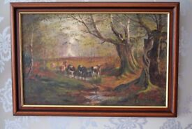 Antique Oil Painting of cattle signed M Hulland