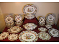 Stunning Antique 1870s Victorian Dinner Set Service 50 Piece Indian Jar Bird Plate Platter