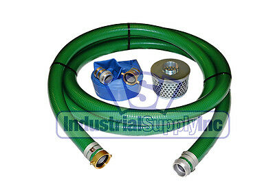 2 Green Pvc Pin Lug Suction Hose Trash Pump Kit W50 Discharge Hose Fs