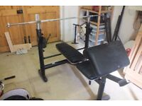 Weight bench, with dumbells, bars, plates and punch bag (ONO)