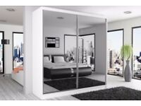 BLACK WALNUT AND WHITE BRAND NEW - BERLIN 2 DOOR SLIDING WARDROBE WITH FULL MIRROR -EXPRESS DELIVERY
