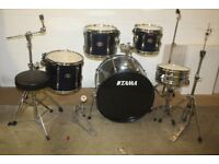 Tama Rockstar Midnight Blue 5 Piece Full Drum Kit (22 in bass) complete with Sabian Solar Cymbal Set