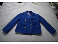 Deep blue woman's maritime felt jacket with brass buttons