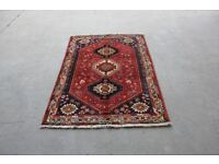 Triple Diamond Medallion Design Wool On Wool Shiraz Rug 175x110cm