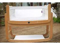 Snuzpod 3 in 1 bedside crib + unused organic mattress + 2 organic cotton organic fitted sheets