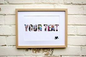 Personalised Framed Photo Word Christmas Birthday Gift Xmas Anniversary Baby Pet