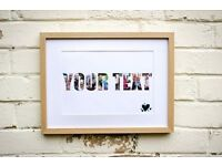 Personalised Framed Photo Word Christmas Birthday Gift Xmas Anniversary Baby Pet
