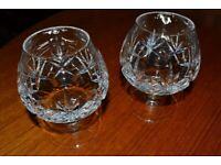 Pair of 'Stuart' crystal brandy balloon glasses. Perfect condition. Buyer collects. Cash only.