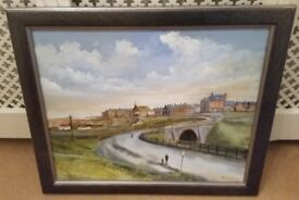 Derek Thompson original oil painting of Seaton Sluice