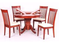 Leicester Dining Set with 4 Chairs Mahogany