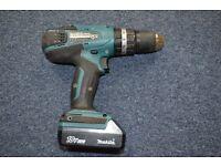 Makita Cordless 18V Li-ion Combi Drill HP457D . 1 x 18V 1.3Ah battery