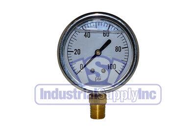 Liquid Filled Pressure Gauge 0-100 Psi 2-12 Face 14 Lm Single Scale