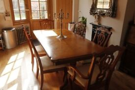 Expandable inlaid Dining Table and 6 matching chairs - (2 of them Carver chairs)