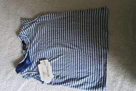 BRAND NEW Girls M&S Blue Stripped T-shirt Age 2-3yrs