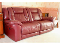 Leather 3 seater recliner Sofa.