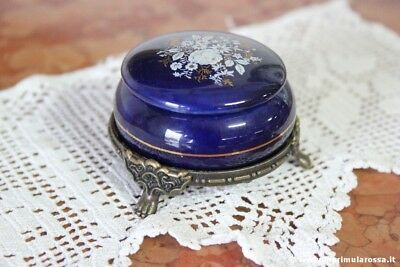 SCATOLINA VINTAGE IN PORCELLANA DIPINTA A MANO LIMOGES STYLE CHINA TRINKET BOX