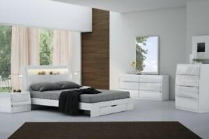 WHITE BEDROOM SET WITH LED LIGHT ON SALE - ONLINE SALE FREE SHIPPING | CALL -905-451-8999 (KA1)
