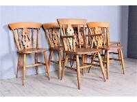 DELIVERY OPTIONS - SET 6 SOLID BEECH FARMHOUSE FIDDLE BACK CHAIRS INCL 1 CARVER