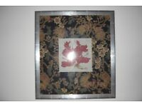 Large silk framed picture