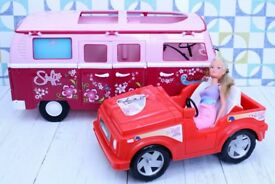 Steffi Love Camper Van, car and dressed Steffi doll; doll toys, accessories,