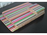 SET OF CORK CANDY STRIPES TABLE PLACE MATS,COASTERS & SERVING MATS