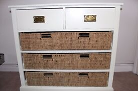 Wood and Seagrass Chest of Drawers