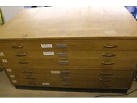 Vintage Wooden Architects / Artists Plan Map Chest Drawers 1960's/70's