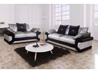 🔥💥FURNITURE SALE 🔥💥 NEW DOUBLE PADDED DINO CRUSHED VELVET CORNER SOFA OR 3 AND 2 SOFA