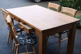 Pine Table With 4 Oak Chairs