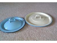 Two old enamel saucepan lids
