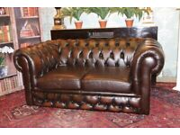 2 seater brown leather chesterfield sofa can deliver