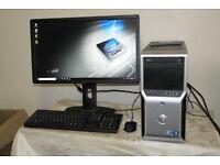 """Mega fast Dell Precision Intel Quad-Core i7 PC . 22"""" Full HD monitor. 16GB RAM. 1TB HDD. 1GB GPU."""