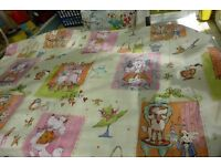 Pair of delightful poodle parlour cotton curtains + spare fabric.