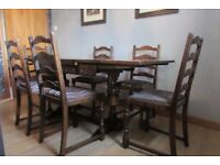 Antique Extending Dining Table 6 Chairs Solid Oak £600