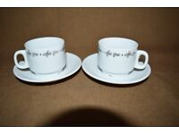 Two bone china Esspresso cups and saucers
