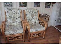 Cane armchair sofa 3 piece suite