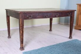 LOVELY OLD RUSTIC PARTNERS TABLE LEATHER WRITING PAD 4 DRAWERS - CAN COURIER