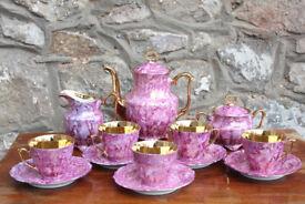 Vintage Purple Tea Set Coffee Set Gold Gilded Walbrzych Polish Porcelain Cup Saucer Coffee Pot Tea