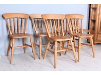 DELIVERY OPTIONS - SET OF 6 SOLID BEECH FARMHOUSE CHAIRS STURDY WAXED