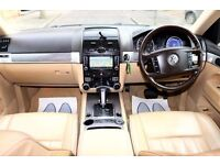 VOLKSWAGEN TOUAREG 3.0 TDI V6 ALTITUDE 5 DR FSH HPI CLEAR CREAM LEATHER SATNAV EXCELLENT CONDITION