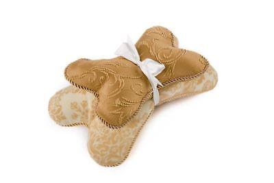 Croscill Bone-Shaped Soft Dog Pillow with Squeaker, Tan Camel, Set of 2