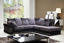 BEST SELLING BRAND- BRAND new Dino Left or Right Hand Fabric Corner Sofa In Brown & Black Colour
