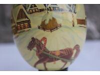 Vintage Handpainted Wooden Egg Winter Scene Russian Kostroma Ltd Edition Christmas Decoration