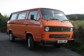 Orange 1984 VW T25 campervan with MOT until July 2019