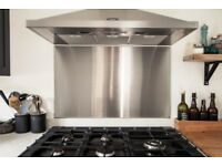 Stainless steel splashback wide